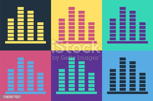 Pop art Music equalizer icon isolated on color background. Sound wave. Audio digital equalizer technology, console panel, pulse musical. Vector Illustration