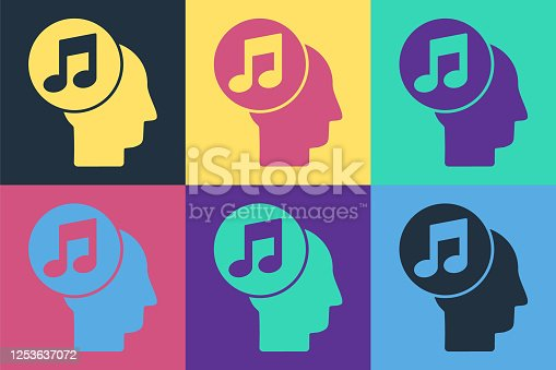 istock Pop art Musical note in human head icon isolated on color background. Vector Illustration 1253637072