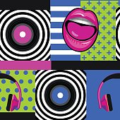 pop art musical pattern with vinyl