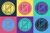 istock Pop art No cell phone icon isolated on color background. No talking and calling sign. Cell prohibition. Vector Illustration 1268547393