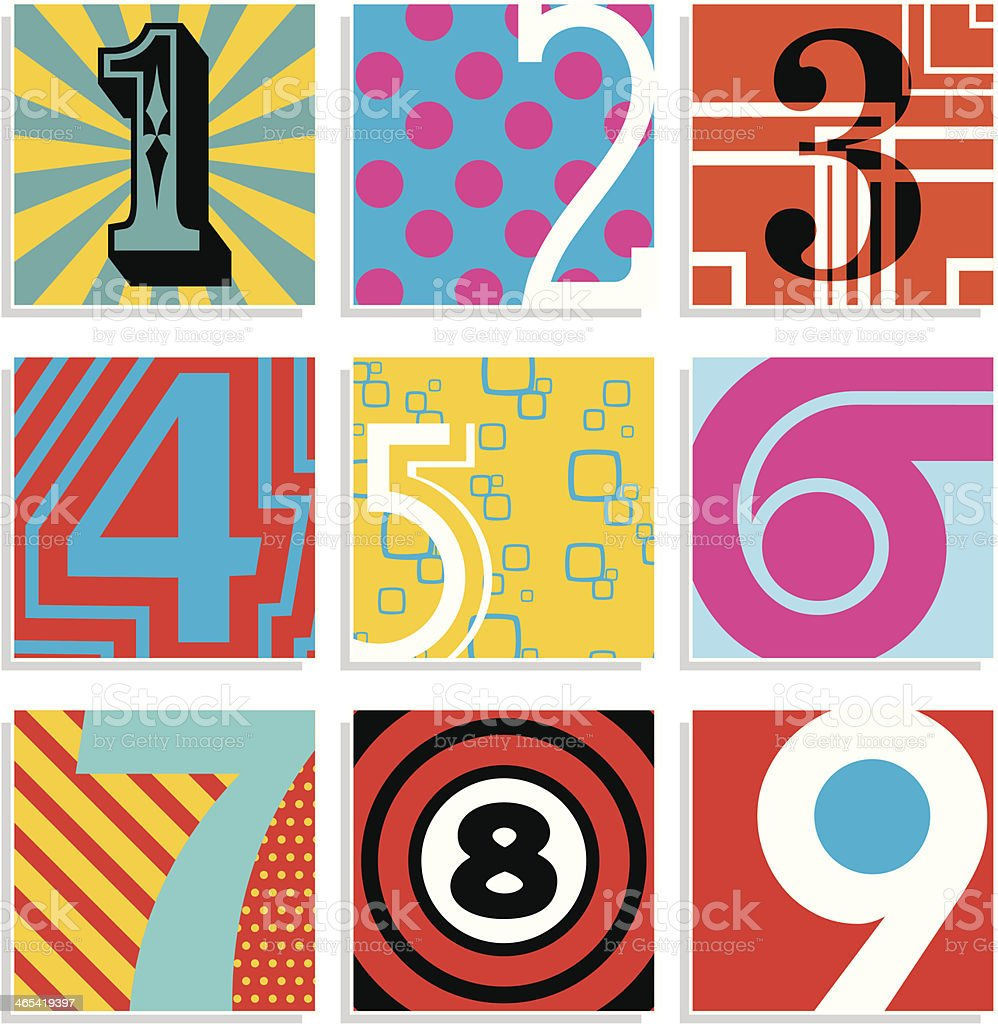 Pop Art Numbers vector art illustration