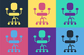istock Pop art Office chair icon isolated on color background. Vector Illustration 1254408064