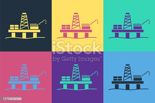 Pop art Oil platform in the sea icon isolated on color background. Drilling rig at sea. Oil platform, gas fuel, industry offshore. Vector Illustration