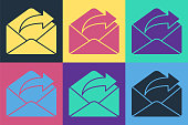 istock Pop art Outgoing mail icon isolated on color background. Envelope symbol. Outgoing message sign. Mail navigation button. Vector Illustration 1255984642