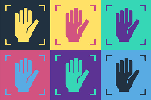Pop art Palm print recognition icon isolated on color background. Biometric hand scan. Fingerprint identification. System recognition and verification. Vector