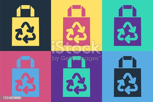 Pop art Paper shopping bag with recycle icon isolated on color background. Bag with recycling symbol. Vector Illustration