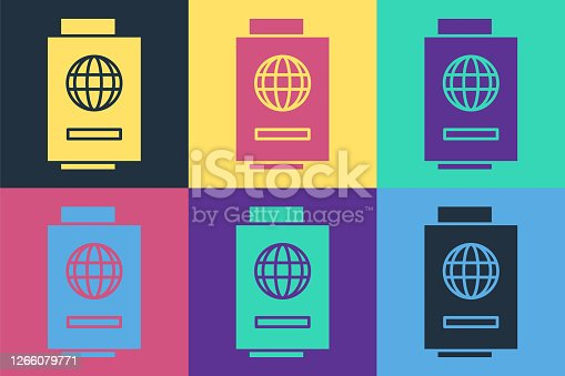 istock Pop art Passport with ticket icon isolated on color background. Identification Document. Concept travel and tourism. Vector Illustration 1266079771