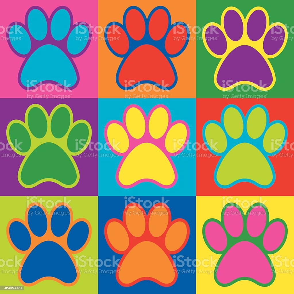 pop art paws stock vector art   more images of 1960 1969 464553920 istock dog paw clip art scrapbook dog paw clip art png