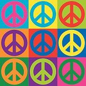 Peace symbols in a colorful checkerboard design.
