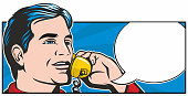 Retro style pop art illustration of a handsome man on a telephone.
