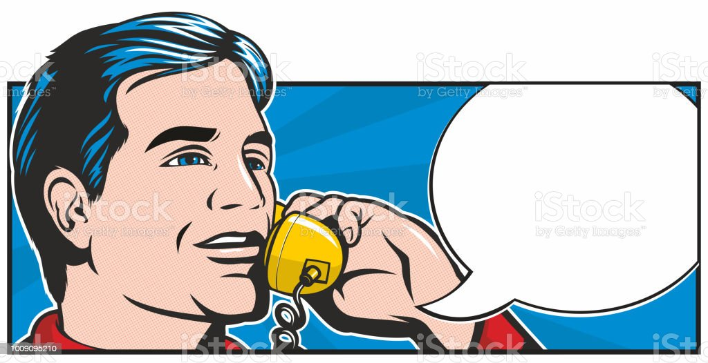 Pop Art Phonecall vector art illustration