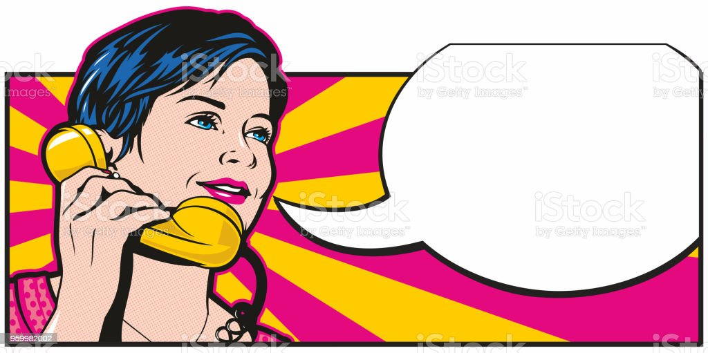 Pop Art Phonecall Retro style pop art illustration of a pretty woman with a pixie cut on a telephone. Empty speech bubble for your text. Adult stock vector