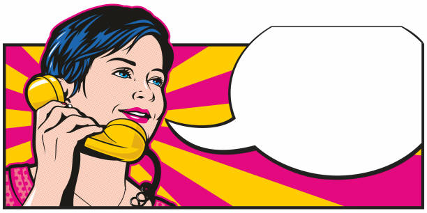 stockillustraties, clipart, cartoons en iconen met popart phonecall - breedbeeldformaat