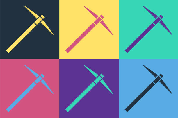 Pop art Pickaxe icon isolated on color background. Vector Illustration Pop art Pickaxe icon isolated on color background. Vector Illustration mattock stock illustrations