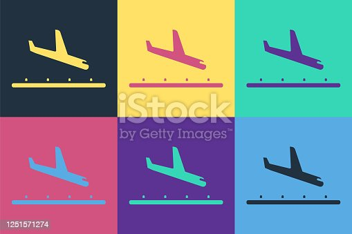 Pop art Plane landing icon isolated on color background. Airplane transport symbol. Vector Illustration