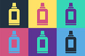 Pop art Plastic bottle for laundry detergent, bleach, dishwashing liquid or another cleaning agent icon isolated on color background. Vector.