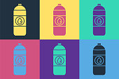 Pop art Plastic canister for motor machine oil icon isolated on color background. Oil gallon. Oil change service and repair. Vector Illustration