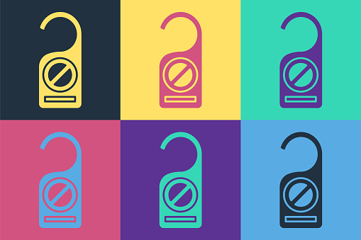 Pop art Please do not disturb icon isolated on color background. Hotel Door Hanger Tags. Vector Illustration