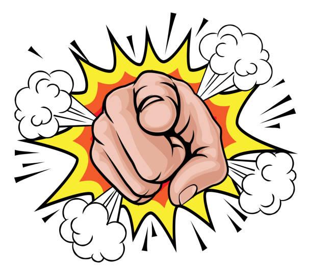 Pop Art Pointing Cartoon Hand An illustration of a pop art comic book pointing cartoon hand with explosion book clipart stock illustrations