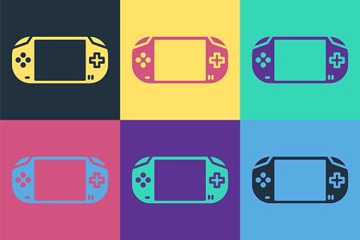 Pop art Portable video game console icon isolated on color background. Gamepad sign. Gaming concept. Vector Illustration