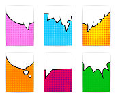 Six bright colorful poster templates. Comic book style.