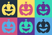 istock Pop art Pumpkin icon isolated on color background. Happy Halloween party. Vector 1271985043