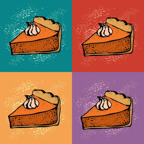 流行藝術南瓜派與奶油的背景。手工繪製的餡餅片草圖。感恩節向量插圖。 標識餐廳、包裝、功能表設計的模式 - pumpkin pie 幅插畫檔、美工圖案、卡通及圖標