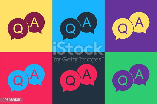 istock Pop art Question and Answer mark in speech bubble icon isolated on color background. Q and A symbol. FAQ sign. Copy files, chat speech bubble. Vector 1264825051