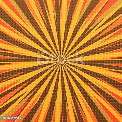 istock Pop art radial colorful comics book magazine cover. Striped orange and blue digital background. Cartoon funny retro pattern strip mock up. Vector halftone illustration. Sunburst, starburst shape 1316957299