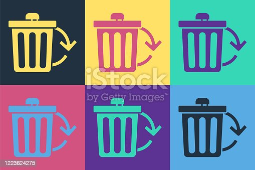 Pop art Recycle bin with recycle symbol icon isolated on color background. Trash can icon. Garbage bin sign. Recycle basket sign. Vector Illustration