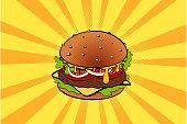 Pop art retro burger