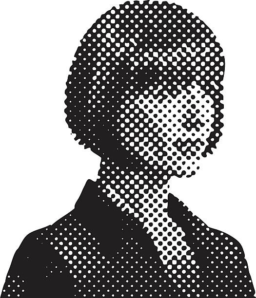 Pop Art Retro Businesswoman with Halftone Pattern vector art illustration