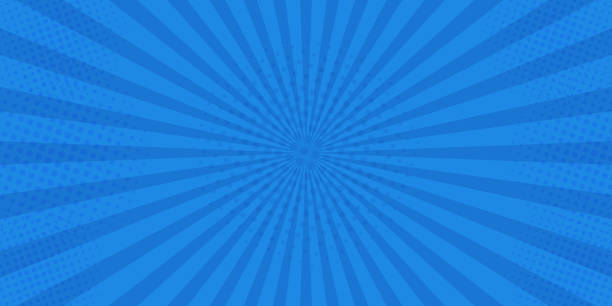 Pop art retro comic. Blue background superhero. Lightning blast halftone dots. Cartoon vs. Vector Illustration Pop art retro comic. Blue background superhero. Lightning blast halftone dots. Cartoon vs. Vector Illustration. blue background stock illustrations