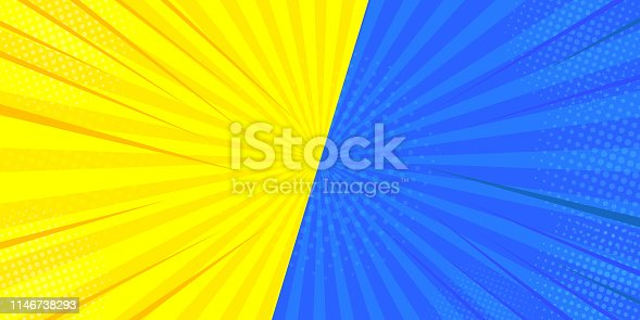 Pop art retro comic. Blue, yellow superhero background. Lightning bursts of halftone dots. Cartoon vs. Vector Illustration.