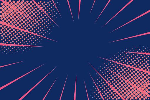 Pop art retro comic. Lightning blast halftone dots. Cartoon vs. Retro 80's style colors. Vector Illustration