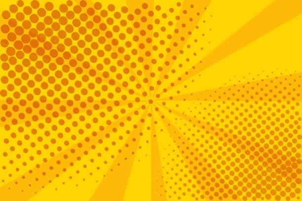 stockillustraties, clipart, cartoons en iconen met pop art retro strip. gele achtergrond. bliksem blast raster stippen. cartoon vs vector illustratie - cola