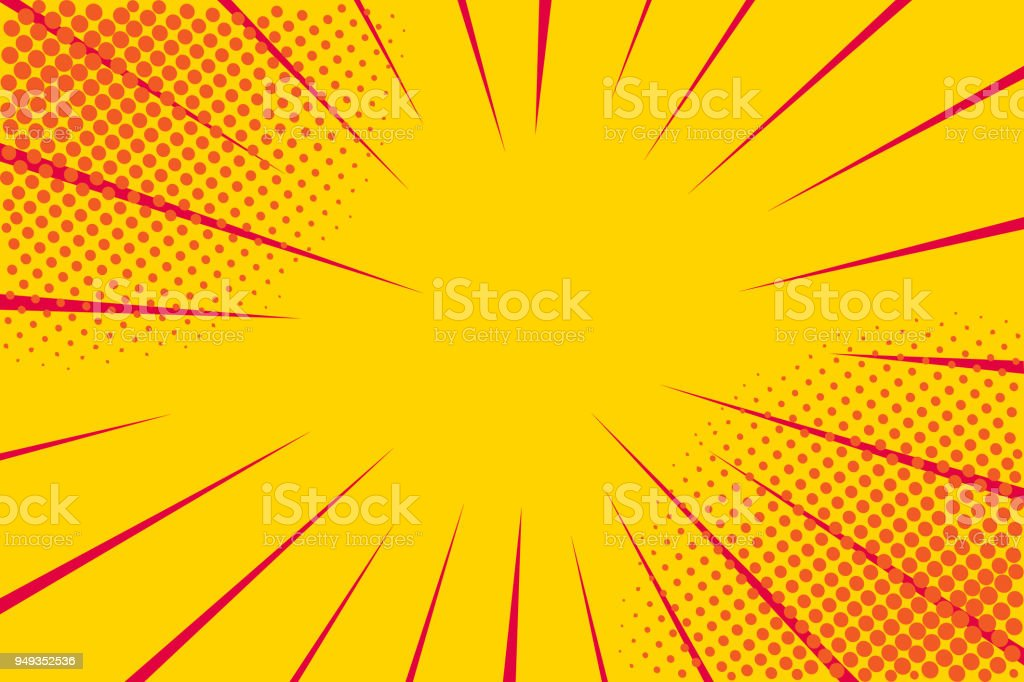 Pop art retro comic. Yellow background. Lightning blast halftone dots. Cartoon vs. Vector Illustration