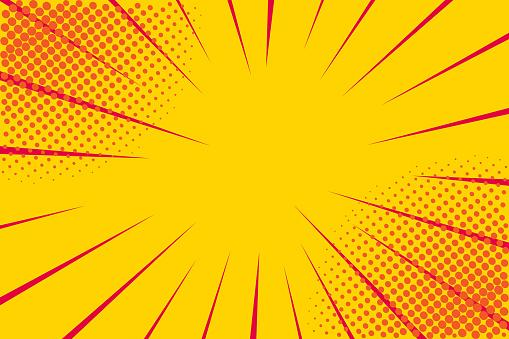 Pop art retro comic. Yellow background. Lightning blast halftone dots. Cartoon vs. Vector Illustration