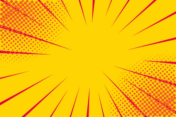 illustrazioni stock, clip art, cartoni animati e icone di tendenza di pop art retro comic. yellow background. lightning blast halftone dots. cartoon vs. vector illustration - sfondo retrò e vintage