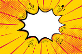 Pop art retro comic. Yellow background superhero. Lightning blast halftone dots. Cartoon vs. Vector Illustration