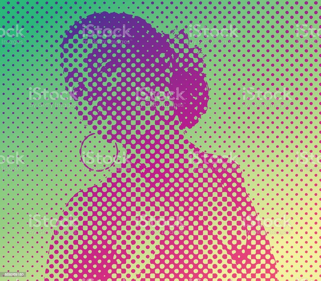 Pop Art retro style portrait of a Mixed race woman salsa dancing vector art illustration