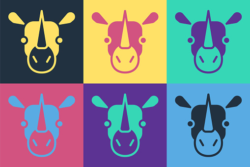 Pop art Rhinoceros icon isolated on color background. Animal symbol. Vector.