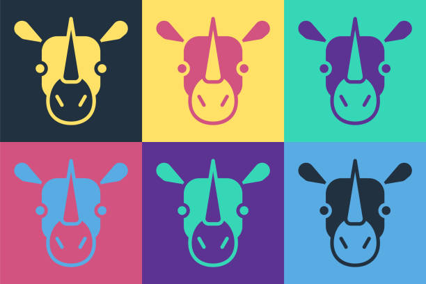 Pop art Rhinoceros icon isolated on color background. Animal symbol. Vector Pop art Rhinoceros icon isolated on color background. Animal symbol. Vector. giant fictional character stock illustrations