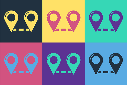 Pop art Route location icon isolated on color background. Map pointer sign. Concept of path or road. GPS navigator. Vector Illustration