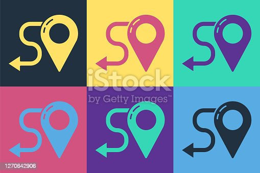 istock Pop art Route location icon isolated on color background. Map pointer sign. Concept of path or road. GPS navigator. Vector Illustration 1270642906