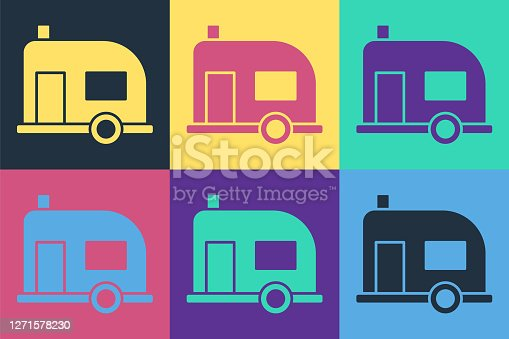 Pop art Rv Camping trailer icon isolated on color background. Travel mobile home, caravan, home camper for travel. Vector Illustration