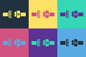 Pop art Safety belt icon isolated on color background. Seat belt. Vector Illustration