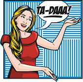 """Pretty and kooky pop art woman smiling as she reveals something with a big """"Ta-daa!"""""""