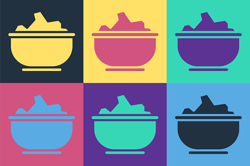 Pop art Sea salt in a bowl icon isolated on color background. Vector Illustration