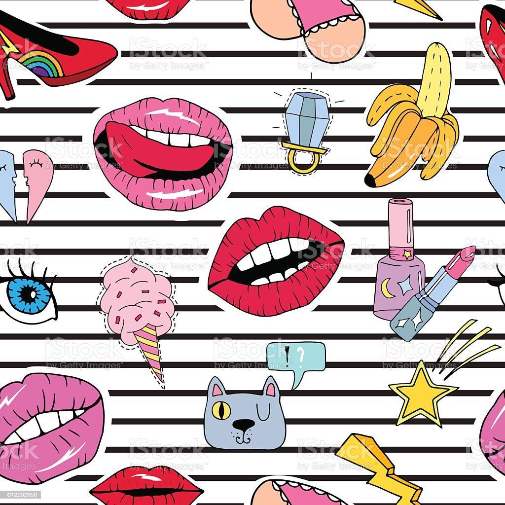 Pop art seamless pattern vector art illustration